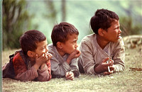 Kids watching us put up our tents Nepal 1979