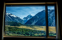 View from window in Hermitage Lodge, Mount Cook National Park